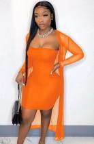Vestido de tubo naranja sexy de verano con monos a juego