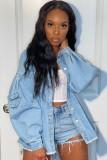 Günlük Açık Mavi Puf Kol Uzun Kot Ceket