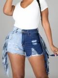 Pantalones cortos de mezclilla con flecos de bloque de color casual de verano