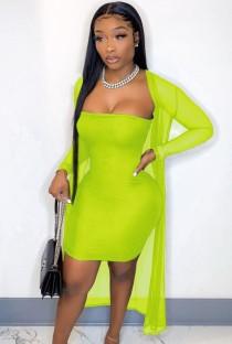 Vestido tubinho sexy de verão verde com macacão combinando
