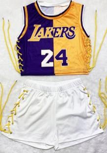 Conjunto de shorts e top recortado estampado para esportes de verão