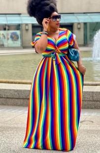 Conjunto de saia maxi e blusa arco-íris de verão plus size