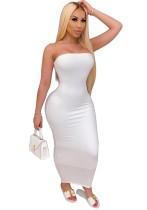 Vestido de tubo sexy de fiesta blanca de verano