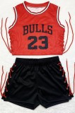 Summer Sports Lace-Up Print Crop Top and Shorts Set