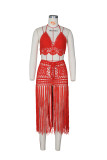 Summer Orange Crochet Halter Crop Top and Fringe Skirt 2pc Cover-Up