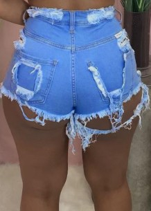 Summer Sky Blue Sexy Ripped Jeans-Shorts mit hoher Taille