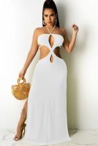 Vestido de fiesta largo con escote halter y abertura en blanco sexy de verano