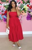 Vestido largo con tirantes rojos y casuales de verano