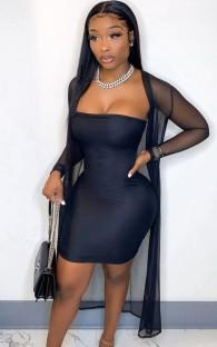 Vestido tubinho sexy de verão preto com macacão combinando