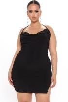 Summer Sexy Black Hollow Out Halter Mini Club Dress