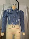 Casual Light Blue Long Sleeve Ripped Short Denim Jacket