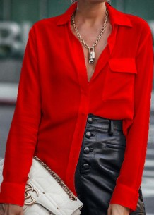 Lente stijlvolle rode blouse met lange mouwen