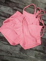 Set 3 pezzi reggiseno e pantaloncini rosa Summer Sexy