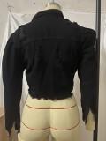 Günlük Siyah Uzun Kollu Kısa Denim Ceket Yırtık