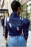 Casual Dark Blue Long Sleeve Ripped Short Denim Jacket