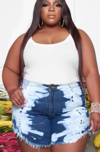 Summer Plus Size White and Blue High Waist Denim Shorts