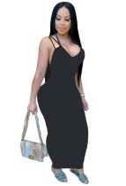 Летнее черное сексуальное длинное платье с пышными формами на бретелях