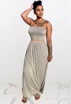 Conjunto de 2 piezas de falda larga y top corto sin tirantes gris informal de verano