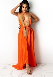 サマーオレンジセクシーディープVホルターロングイブニングドレス