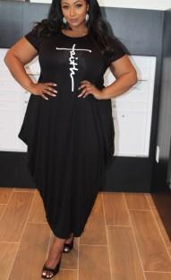 Vestido longo casual verão plus size estampado preto com decote em O