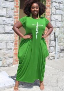 Vestido longo casual verão plus size estampado verde com decote em O