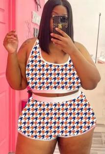 Summer Plus Size Print Vest and Shorts 2pc Set