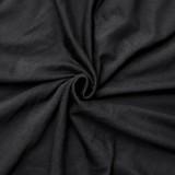 Summer Plus Size Casual Black Print O-Neck Long Dress