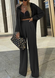 Spring Formal Black Long Sleeve Blouse and Pants 2pc Set