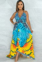 Sommer Hawaii Print Halfter unregelmäßiges langes Sommerkleid