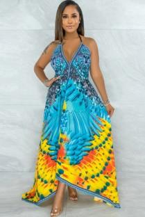 Vestido longo irregular com estampa de verão havaiana