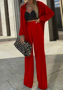 Spring Formal Red Long Sleeve Blouse and Pants 2pc Set