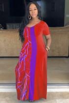Летнее повседневное красное длинное платье с V-образным вырезом и принтом