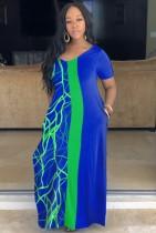 Летнее повседневное синее длинное платье с V-образным вырезом и принтом