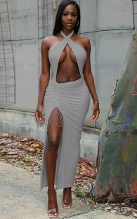 Summer Grey Wrap Upper Cut Out Sexy Slit Long Party Dress
