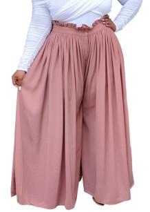 Calças largas plissadas verão plus size rosa cintura alta