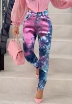 Jeans regulares de cintura alta con efecto tie dye de verano