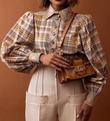 Lente geruite print pofmouwen formele blouse