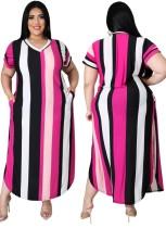 Летнее красочное длинное повседневное платье больших размеров в широкую полоску