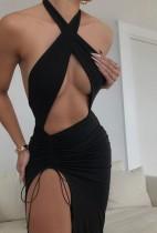 Summer Black Wrap Oberteil ausgeschnitten Sexy Slit Long Party Dress