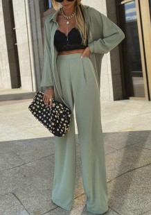 Spring Formal Green Long Sleeve Blouse and Pants 2pc Set