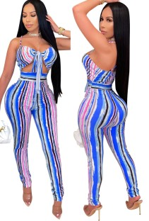 Summer Sexy Stripes Print Cut Out Knotted Strap Bodycon Jumpsuit