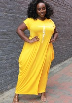 Summer Plus Size Casual Yellow Print O-Neck Long Dress