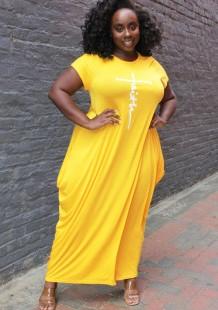 Vestido longo casual verão plus size amarelo estampado com decote em O
