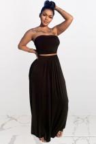Conjunto de 2 piezas de falda larga y top corto sin tirantes negro casual de verano