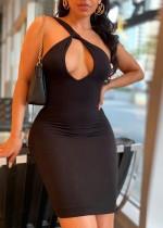 Mini abito aderente monospalla sexy nero con buco della serratura estivo