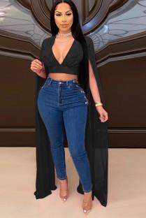 Top corte formal de verão preto com mangas com fenda em V profundo