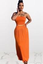 Conjunto de 2 piezas de falda larga y top corto sin tirantes naranja informal de verano