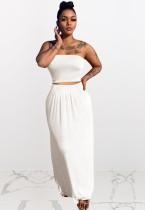Conjunto de 2 piezas de falda larga y top corto sin tirantes blanco informal de verano