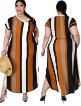 Vestido informal largo de rayas anchas de verano de talla grande