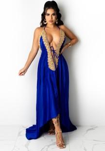 サマーロイヤルセクシーディープVホルターロングイブニングドレス